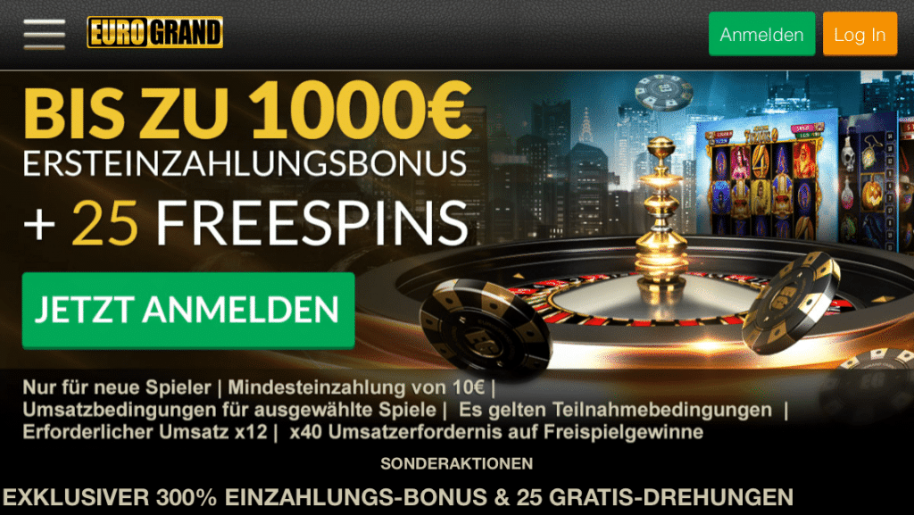 EuroGrand Casino mobil Aktionsseite