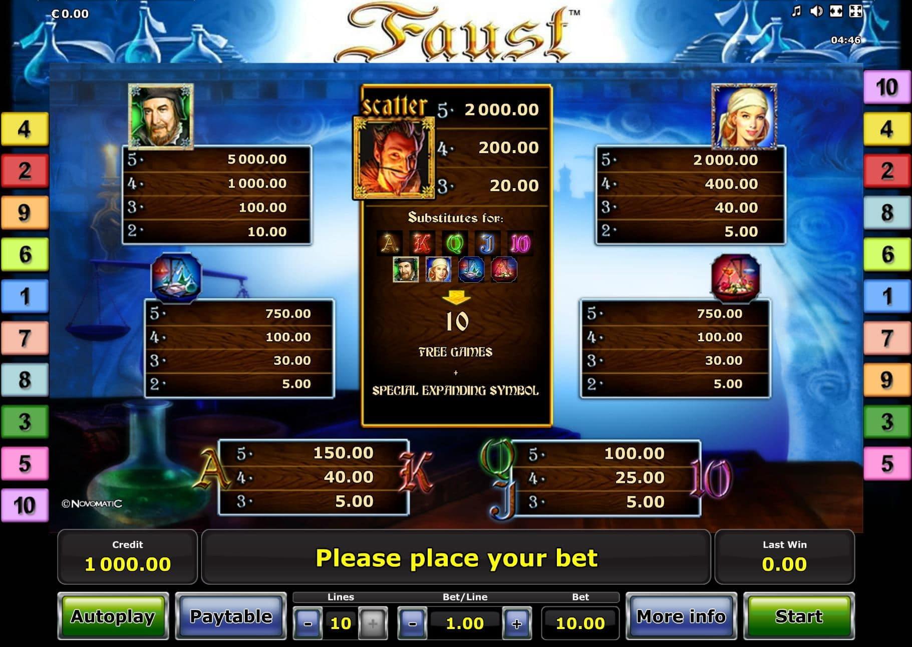 casino 10 euro 60