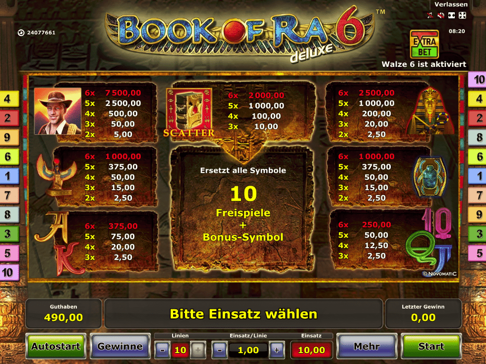 Book of Ra 6 online Paytable