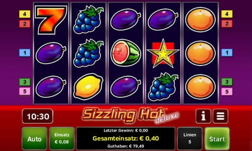 test online casino sizzling hot games