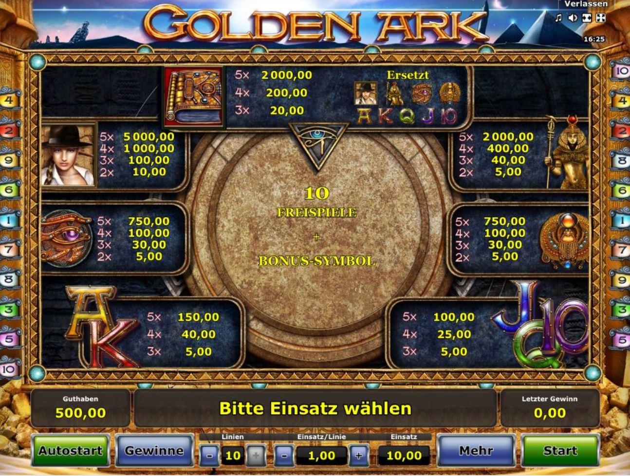 golden ark spielautomat online spielautomaten bonus ohne einzahlung